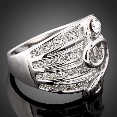 New Rhinestone Jewelry Crystal Musical Treble Clef Ring