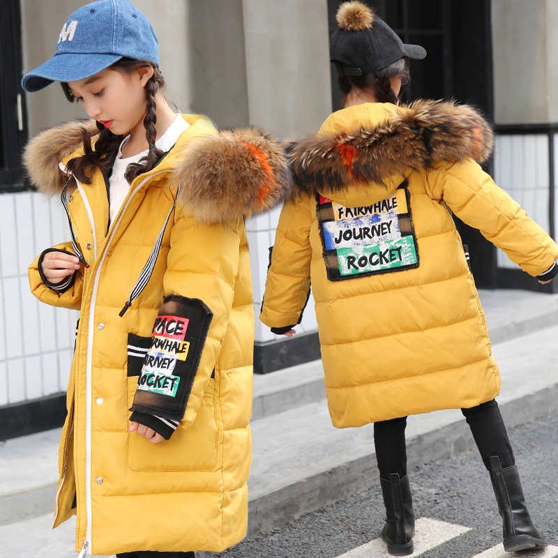 Girls Down Jackets 2018 Children Winter Clothes Girl Coats Warm Fur Collar Hooded long down Coats For Kids Outerwear girls thick winter down coat fur collar warm kids jackets fashion hooded baby girl long coats zipper outerwear children clothes
