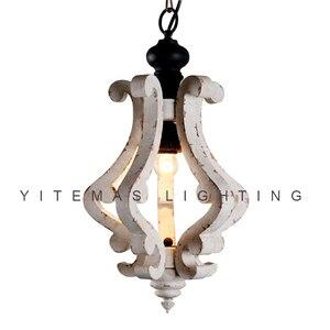 Image 1 - Farmhouse vintage białe drewno żyrandol oprawa oświetleniowa małe antyczne wiszące francuski żyrandol światło do jadalni 1 światło
