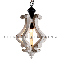 Lámpara de araña de madera blanca vintage para casa de campo, lámpara colgante francesa pequeña, para comedor, 1 Luz
