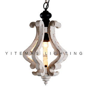 Image 1 - farmhouse vintage white wood chandelier light fixture small antique hanging french chandelier light for dining room 1 light