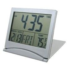 SODIAL(R) Foldable Battery Supply Desktop Calendar Temperature Digital Alarm Clock