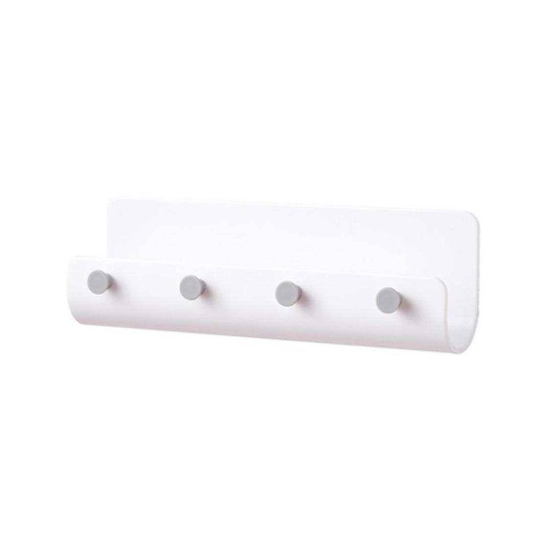 Kitchen White Beige Comfortable And Easy To Wear Modern 4 Hooks Wall Storage Rack Hanging U Shape Shelf Solid Organizer Home Gray