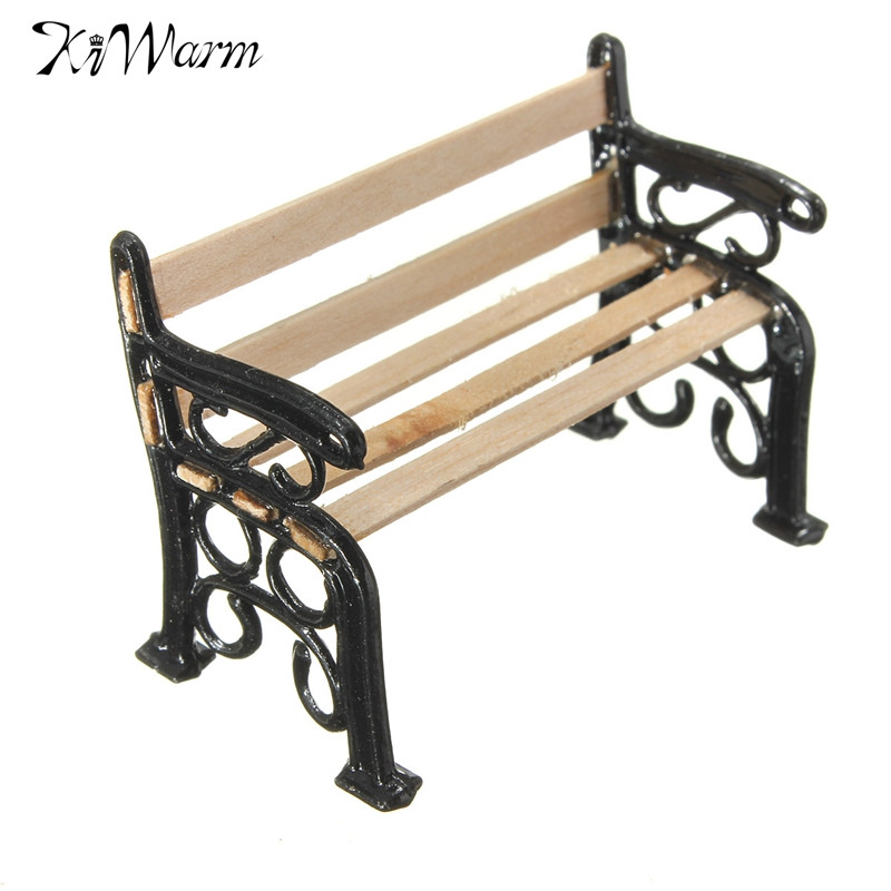 Dollhouse Miniatures Furniture Wooden Garden Outdoor Seat Bench Accessories S*