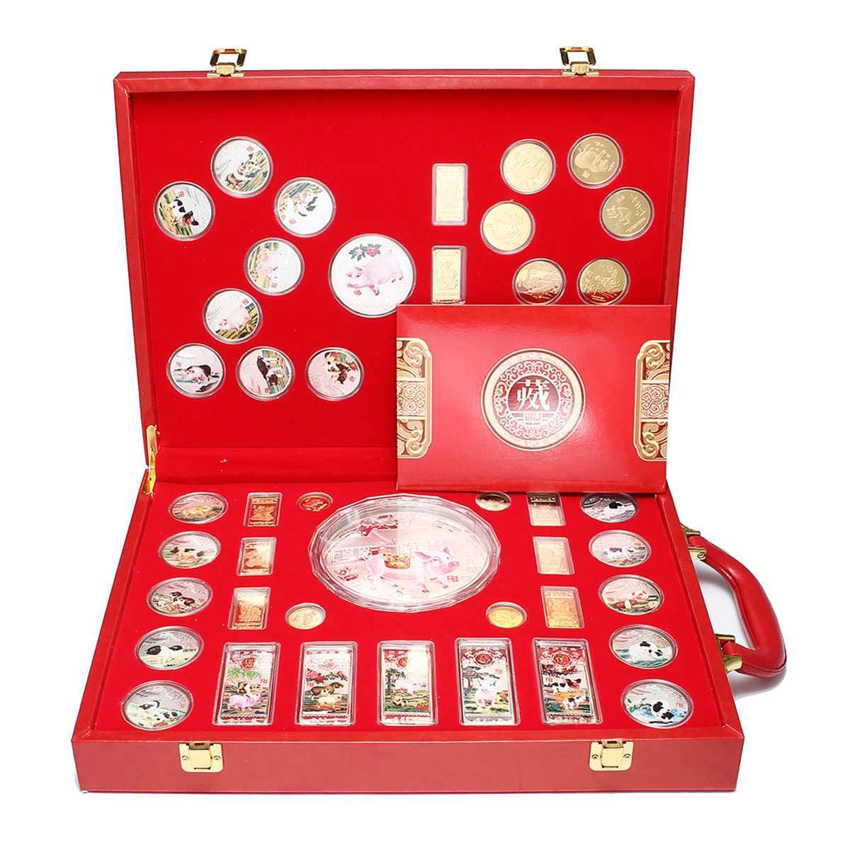46 шт./компл. свинья Юбилейная монета год свинья коллекция монеты для подарка дома украшение автомобиля золото/посеребренный коробка для хра