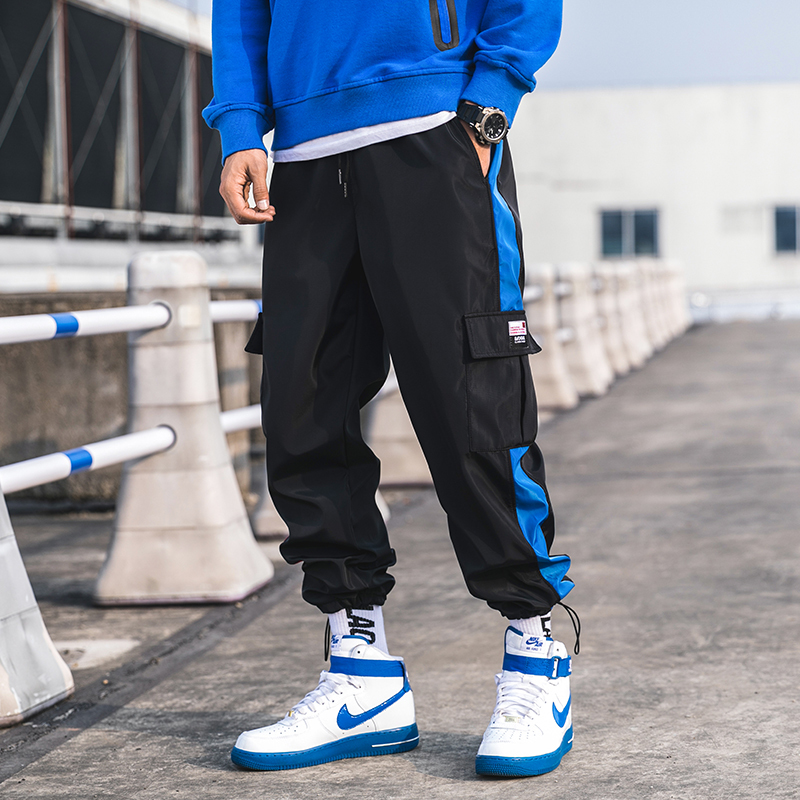 2019 Spring And Autumn Japanese Sports Tooling Casual Pants Men's Color Matching Multi pocket Trousers White / Gray / Black