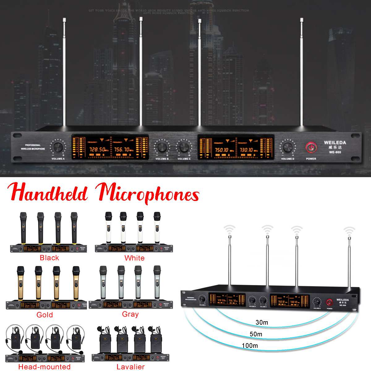 110 220V UHF 4 Channel Professional LCD Wireless Microphone Cordless System Headheld Mic LED Display Sensitive for KTV Stage