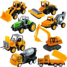 Simulated Pull Back Alloy Engineering Vehicle Model - Road Roller Mixer excavator Forklift Drilling car Model Vehicle toys(China)