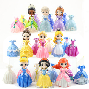 Magiclip Princess Cinderella Mermaid Alice Magic clip Dress PVC Action Figures Qposket Collectible Dolls Kids Toys for Children(China)