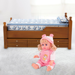 Image 5 - Mini Dollhouse Bed Furniture Toy 1:12 Doll House Wooden Bed with Sliding Drawers Bedroom Livingroom Dollhouse Decor Furniture