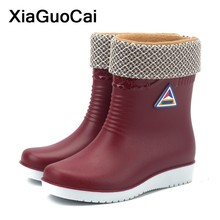 Winter Warm Woman Rainboots High Top Female Shoes Mid-calf Women's Boots Waterproof Antiskid High Quality botas mujer
