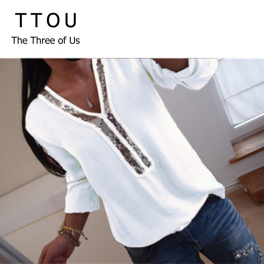 TTOU 2019 New Women Sexy V Neck Sequins Chiffon   Blouse     Shirt   Spring Summer Long Sleeve Black White   Blouses   Tops Plus Size 5XL