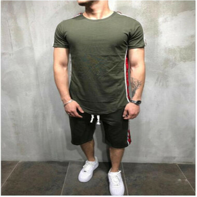 USA Men's Short Sleeve Gym Sports Suit Jogging Clothes Shorts T-Shirt Tops Sets