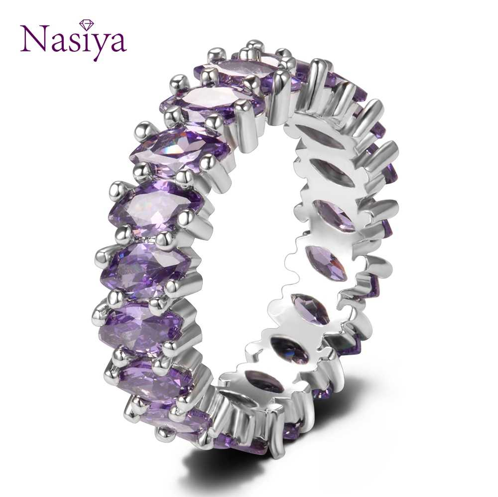 Luxury Purple Amethyst Round 925 Sterling Silver Rings For Women Anniversary Engagement Fashion Ring Girl's Daily Party Gifts