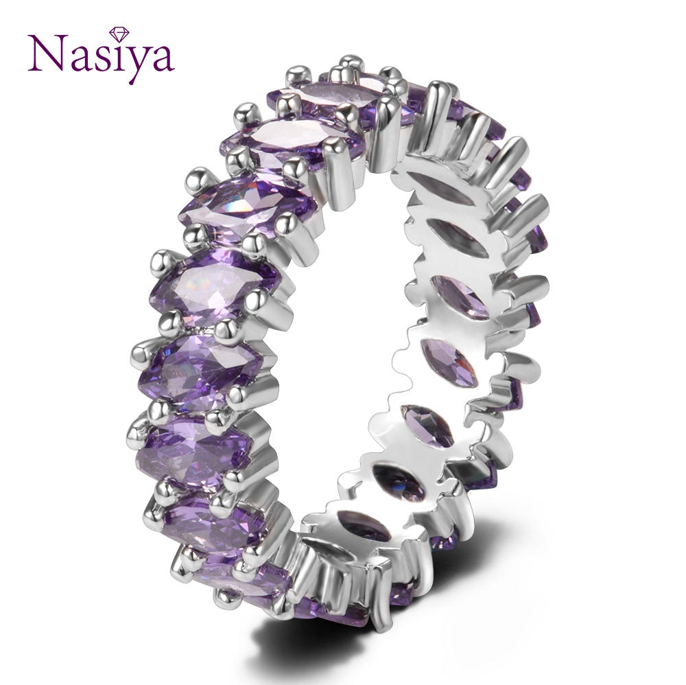 Luxury Purple Amethyst Round 925 Sterling Silver Rings For Women Anniversary Engagement Fashion Ring Girls Daily Party GiftsLuxury Purple Amethyst Round 925 Sterling Silver Rings For Women Anniversary Engagement Fashion Ring Girls Daily Party Gifts