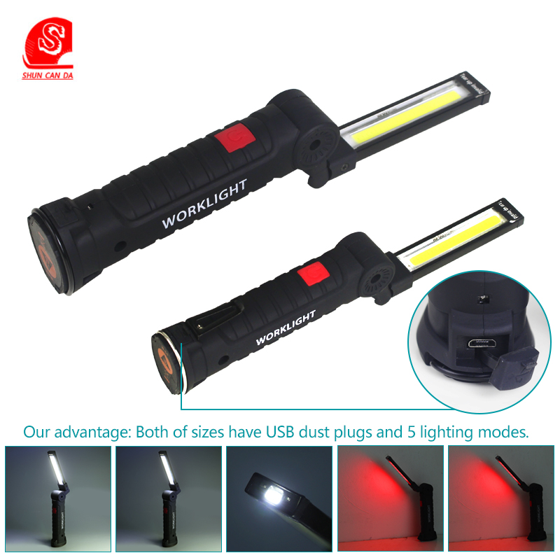 Portable work light cob led Flashlight Rechargeable powerful Torch USB battery 18650 Magnetic Hanging Hook Lamp outdoor lights in LED Flashlights from Lights Lighting