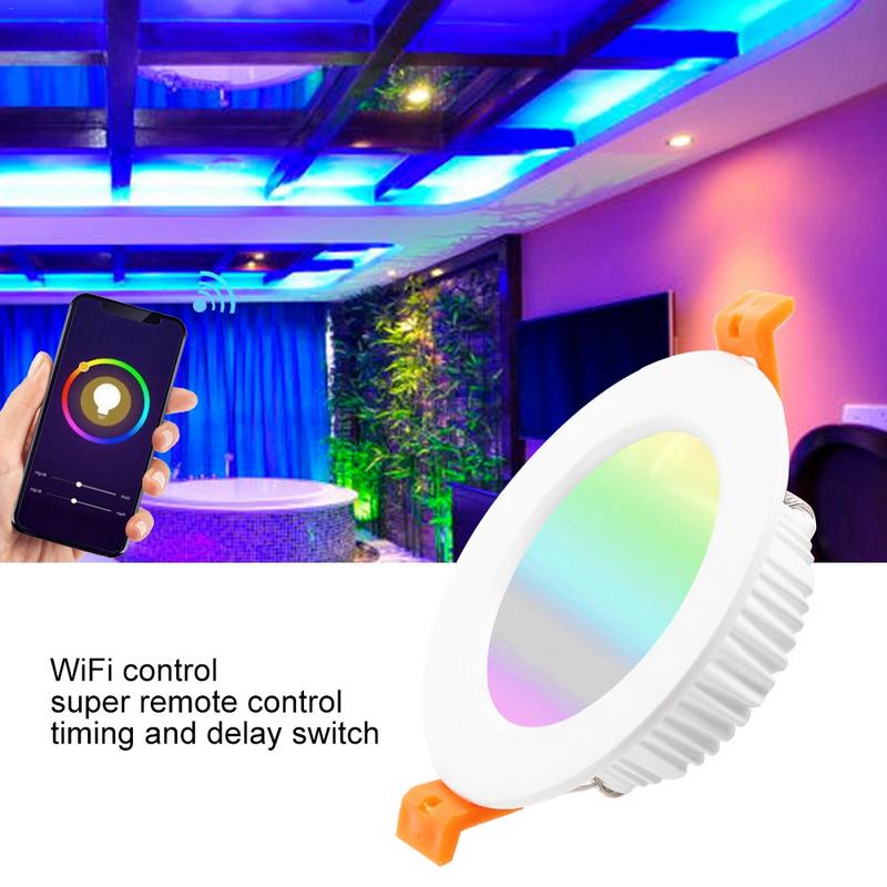 Smart WiFi Downlight Dimmable Ceiling Recessed Spot Light Patch LED Living Room Lamp Opening 90MM 7W RGB Color Changing Lamp in Downlights from Lights Lighting