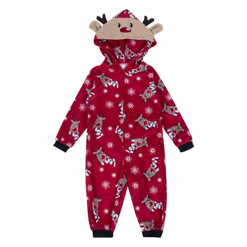 182848f9abe Family Matching Christmas Pajamas Romper Jumpsuit Women Men Baby Kids Red  Print Xmas Sleepwear Nightwear Hooded Zipper Outfits