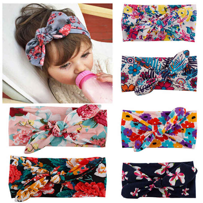 1 Pcs Kids Baby Girls Headbands Flower Floral Print Hair Band Accessories Princess Bow Toddler Children Girls Headwears 0-4 Year