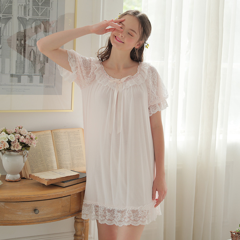 2018 Sexy Women   Nightgowns   &   Sleepshirts   Short sleeve O Neck   Nightgowns   Lace Mesh Palace Princess   Nightgowns