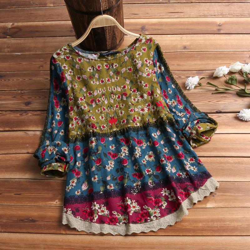 2019 ZANZEA Women Vintage Floral Printed Blouse Spring Long Sleeve Lace Patchwork Shirt