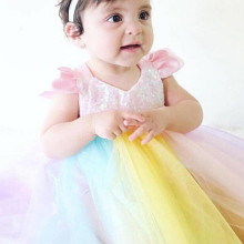 Newborn Princess Dress  Baby Girls First Birthday Outfit Rainbow Dress Easter Sequined Tutu Dress Toddler Costume emmababy cute princess dress newborn toddler baby girls unicorn lace tutu fly sleeve romper jumpsuit fancy dress outfits costume