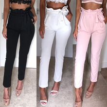 Nuove Donne Pantaloni A Vita Alta Delle Donne sembra Sottile Skinny Ghette  di Colore Puro Elastico 95661cf5fc06