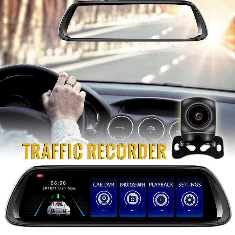 <font><b>2019</b></font> New <font><b>Dash</b></font> <font><b>Cam</b></font> 10-inch Rearview <font><b>Mirror</b></font> 1080P Dual-lens Reversing Image Traffic Recorder Car Dvr Drop Shipping image