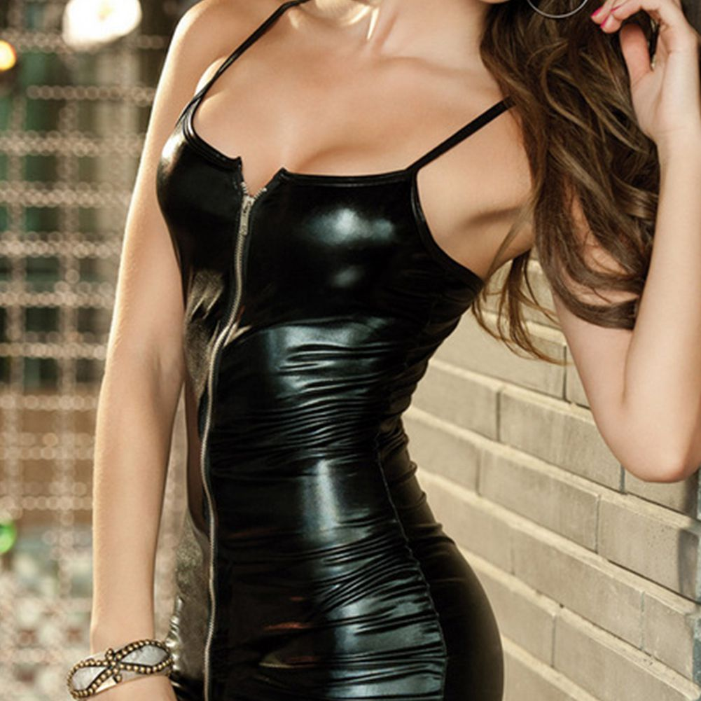 Sexy Lingerie Women Sex Night  Erotic Dress Faux Leather Female Zip Club Wear Party Apparel Fetish Bondage Costumes 5