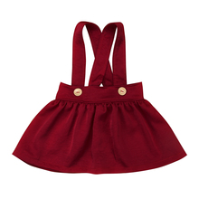 Infant Baby Kids Girls Sleeveless Solid Overalls Dress Cotton Suspender  0-3Years