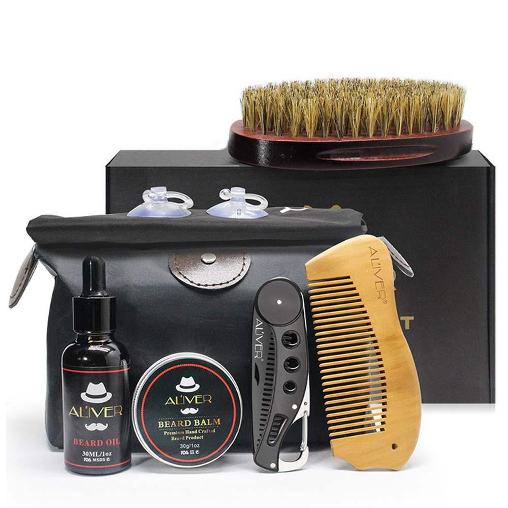 Exquisite Beard Clean Set Trimming Kit Essential Oil Cream Brush Folding Comb Bib Scissors for Men Cleanse Refresh Perfect Gift