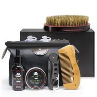 Exquisite Beard Clean Set Trimming Kit Essential Oil Cream Brush Folding Comb Bib Scissors for Men Cleanse Refresh Perfect Gift