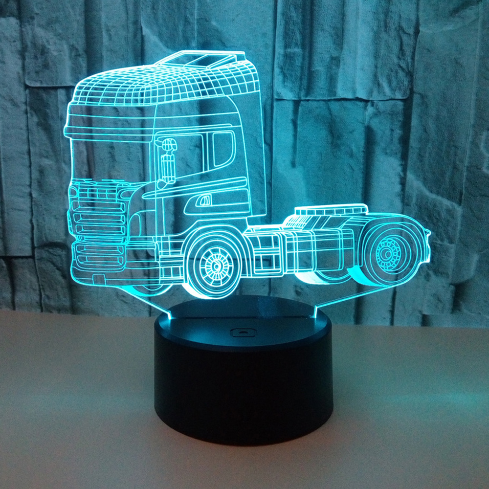 Truck Design 3D Touch illusion Night Light USB Colorful Changing LED Lamp Desk Decor Gift Lights ночник image