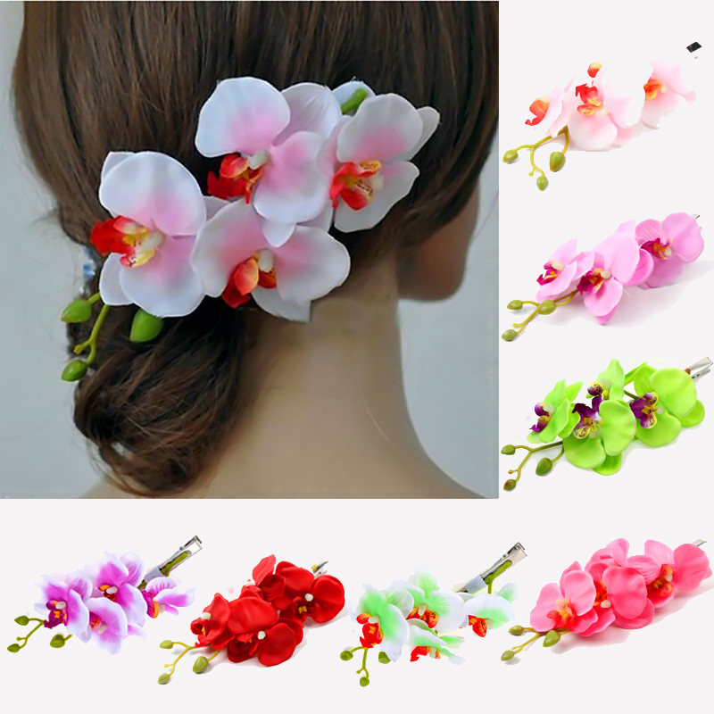 Artificial Flower High Quality Trendy 1PC 8Colors Hair Clip Korean Girls Butterfly Orchid Hot Sale Women Hair Accessories