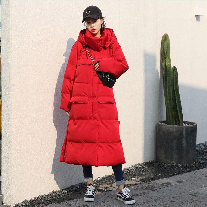 Kadın Giyim'ten Parkalar'de Kış Uzun Ceket Kadınlar Yüksek Yaka Kapüşonlu Büyük Cep Kalın Sıcak Kadın Parka Bayanlar Ceket Artı Boyutu kışlık ceketler Dış Giyim J963'da  Grup 1