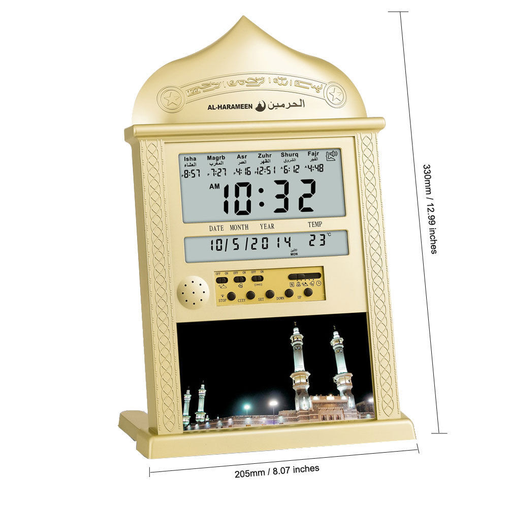 1 Pcs LED Islamic Muslim Prayer Azan Athan Alarm Table Clock Color Gold silver random delivery1 Pcs LED Islamic Muslim Prayer Azan Athan Alarm Table Clock Color Gold silver random delivery