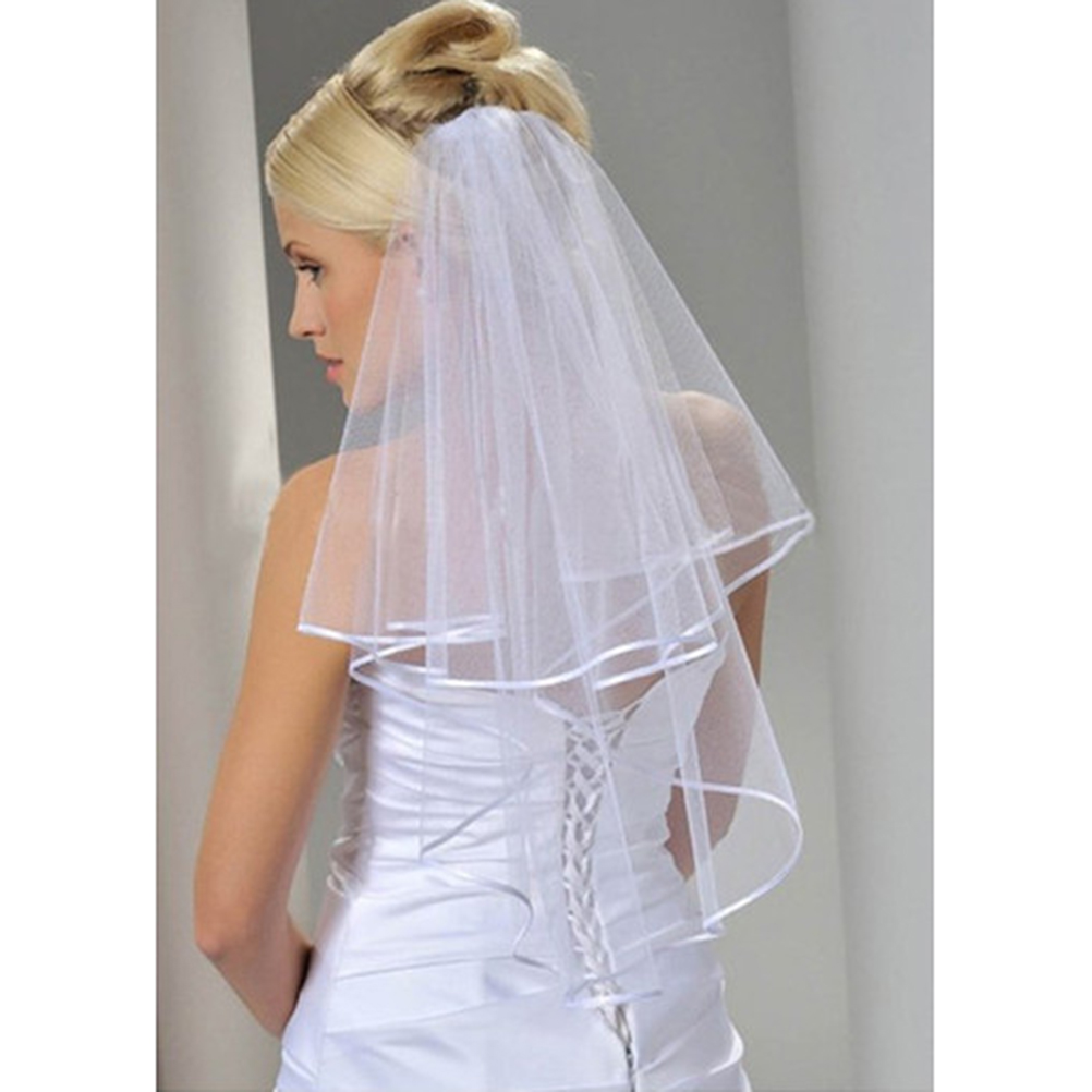 Double Layer Bridal Veil Simple And Elegent Wedding Veil Bridal Tulle Veils With Comb And Lace Ribbon Edge White