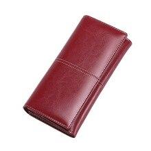 Купить с кэшбэком Fashion Genuine Leather Wallet Women Wallets And Purses Coin Purse Zipper Money Pocket Clutch Bags Card Holder Carteira Feminina