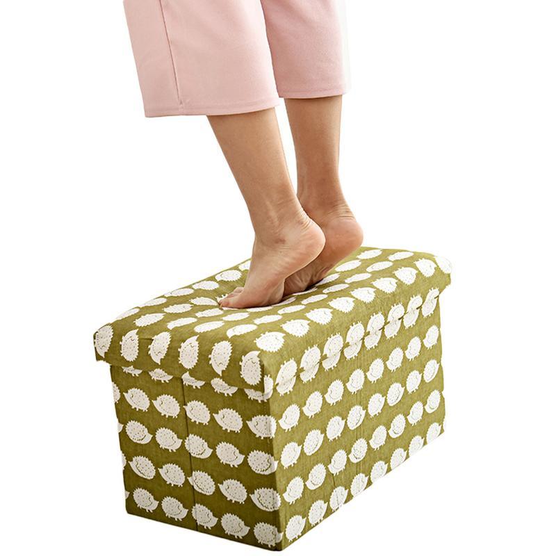 Nouveau Coton chaussures en lin En Cuir Tabouret canapé en bois massif Pédale Innovante Tabouret FootrestRetro Pliage Sit Boîte à Chaussures boîte de rangement Accueil