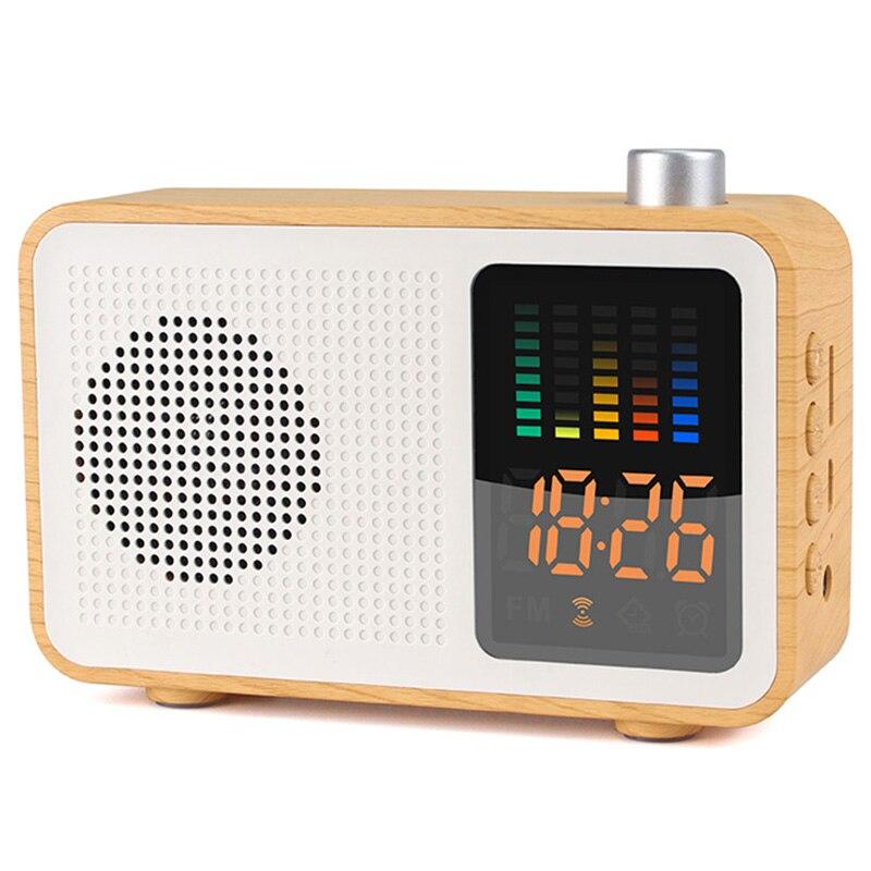 Dapper Digitale Bluetooth Speaker Wekker Fm Radio Ondersteuning Aux Tf Card 3 In 1 Oplaadbare Tafel Klokken Modern Design Klanten Eerst