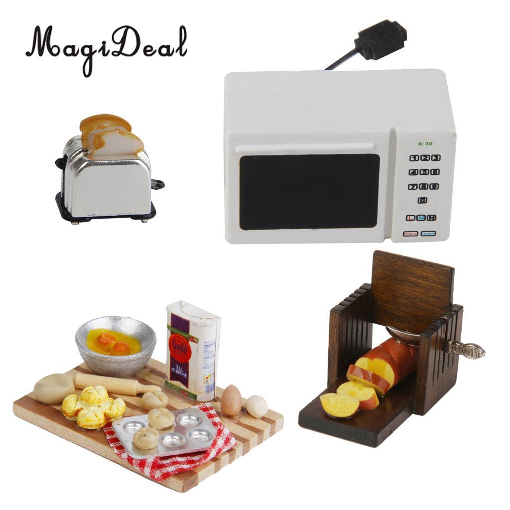 Casa de muñecas en miniatura Modern Aparato de Cocina Accesorio Negro Microondas