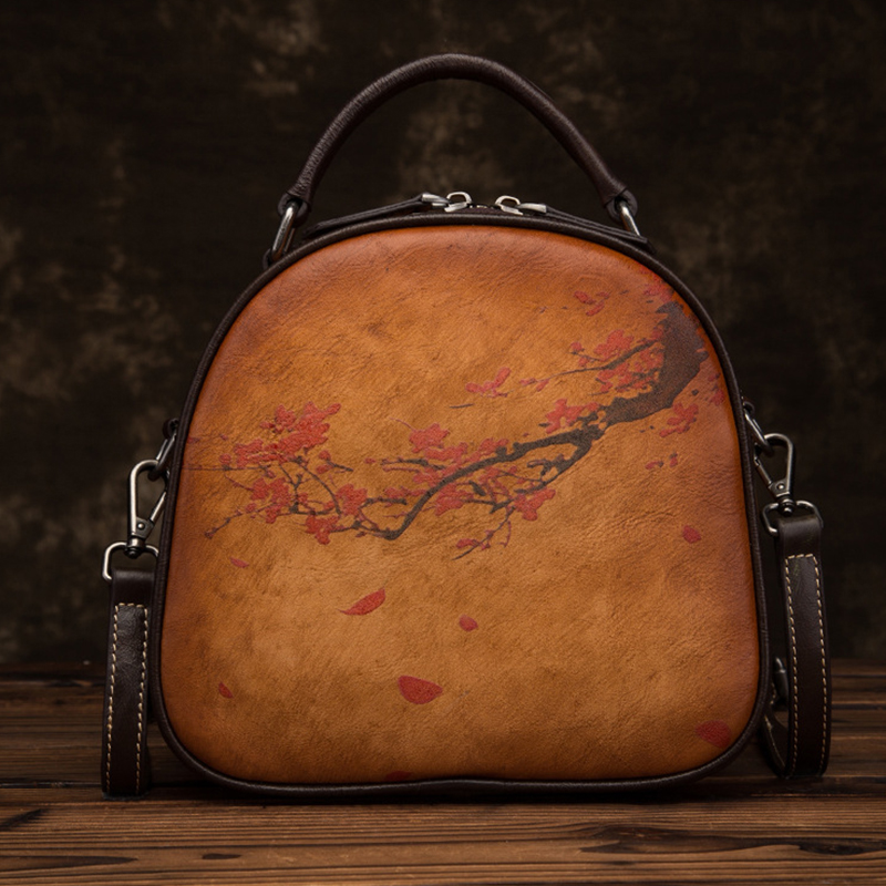 High Quality Genuine Leather Women Shoulder Messenger Tote Bags Plum Female Flower Pattern Circular Real Cowhide