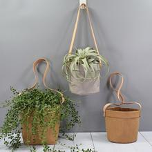 Mini Succulents Planter Pot Washable Kraft Paper Flowerpot Hanging Flower Pots With Leather Hand Strap