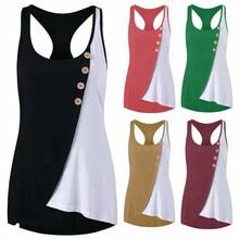 Hirigin sports girl fashion summer womens asymmetric stitching button fitness vest