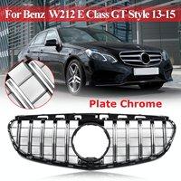 Пара Chrome передний центральный решетка решетки передний бампер Гриль для Benz для Mercedes W212 E Class E Class GT Стиль 2013 2014 2015