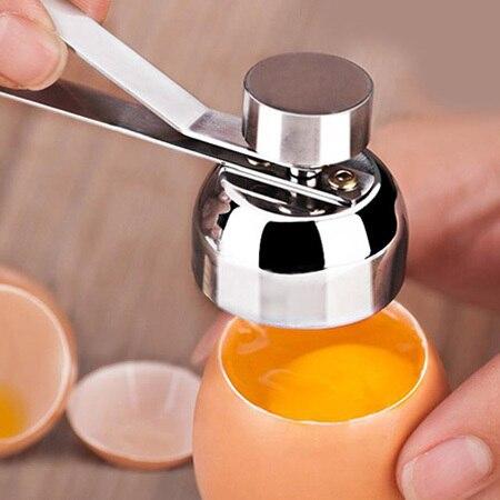 Stainless Steel Egg Opener Measuring Ball Eggshell Top Cracker Boiled Egg Topper Shell Cutter Knocker Raw Egg Cracker Separator 2