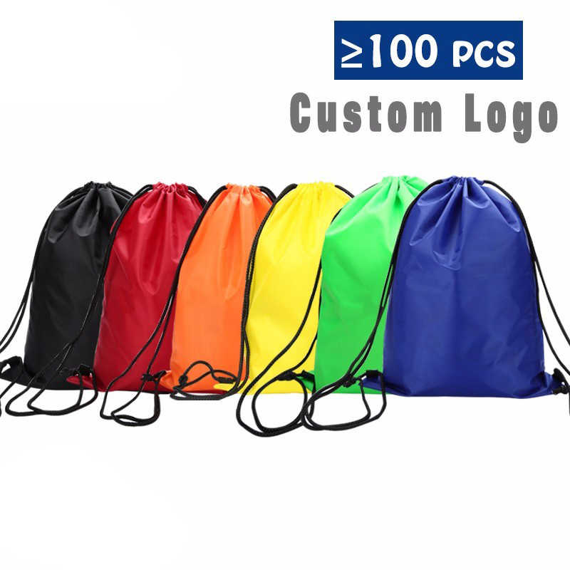 free shipping Sports drawstring waterproof backpack male bag and female school students small pocket custom printing logo DB10