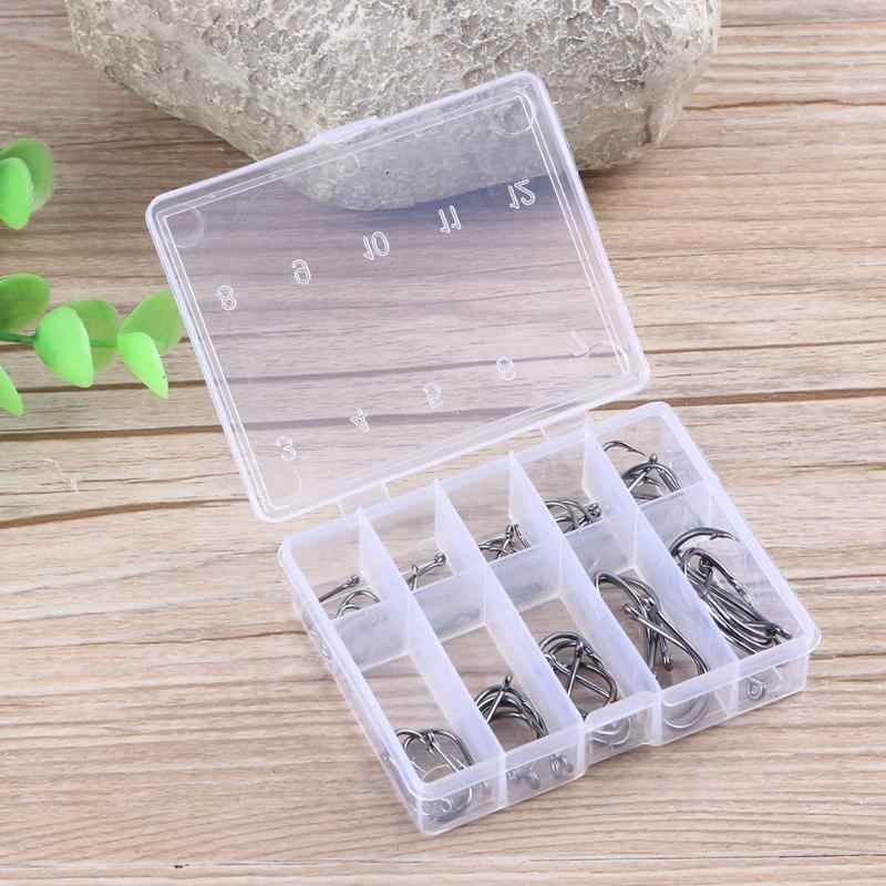 50pcs/set Durable Fishing Hooks Black Nickel Pesca Strong Fishing Hook Tools with Transparent Plastic Box Fishing Accessories