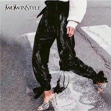 TWOTWINSTYLE, женские брюки с тяжелыми блестками, с высокой талией, с нижней частью, Бандажи, брюки для женщин, Весенняя мода, уличная одежда, новинка