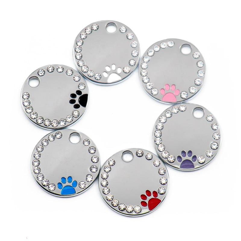 Wholesale 100Pcs Rhinestone Cute Circle Paw Engraved ID Dog Tag Stainless Steel DIY Dog id Tags